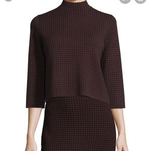 Theory S Houndstooth Harmona Wool Sweater Red